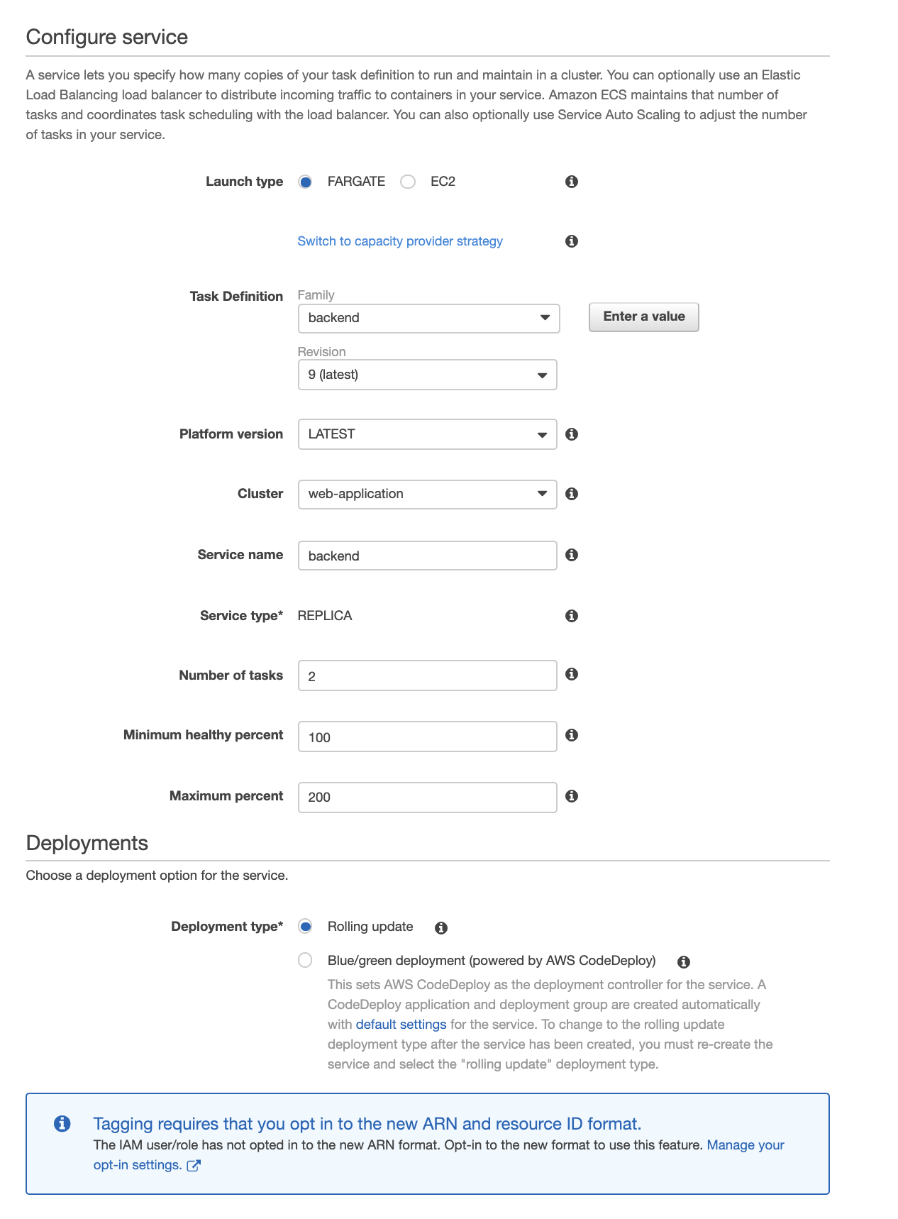 Service definition page 1 with backend parameters