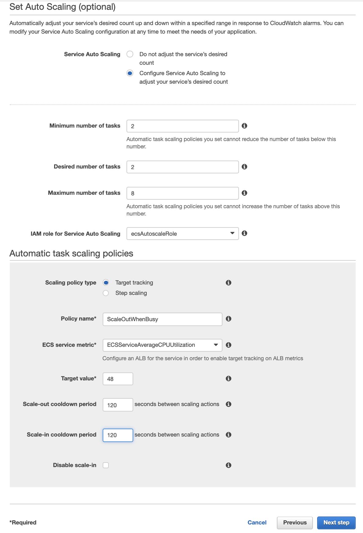 Parameters for ECS autoscaling