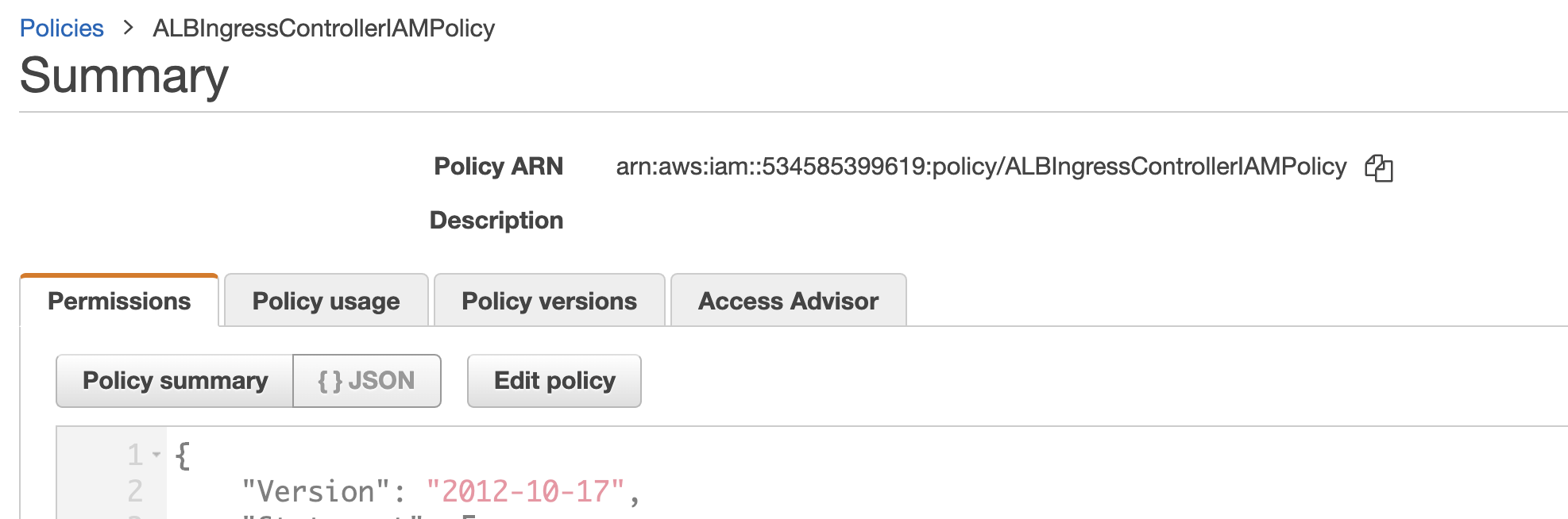 ARN of policy shown in console